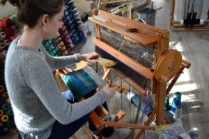 Ellen weaving on the Saori loom