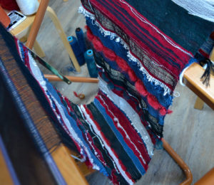 Jans woven cloth on the loom